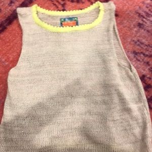 Sweater crop top pink and neon yellow